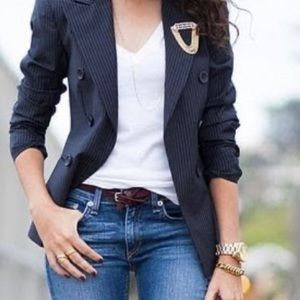 UNITED COLORS OF BENETTON-black pin stripe blazer